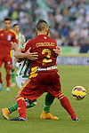 Corcoles grabs Ruben Castro during the match between Real Betis and Recreativo de Huelva day 10 of the spanish Adelante League 2014-2015 014-2015 played at the Benito Villamarin stadium of Seville. (PHOTO: CARLOS BOUZA / BOUZA PRESS / ALTER PHOTOS)