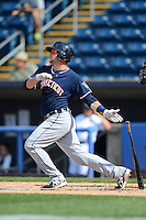 Connecticut Tigers first baseman Pat Leyland #49 during a game against the Staten Island Yankees on July 7, 2013 at Richmond County Bank Ballpark in Staten Island, New York.  Staten Island defeated Connecticut 6-2.  (Mike Janes/Four Seam Images)