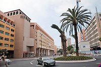 International University of Monaco, Fontvieille, Monaco, 19 April 2013. Lecture theatres, offices and university facilities are housed in part of Stade Louis II, home of Monaco football and athletics events.