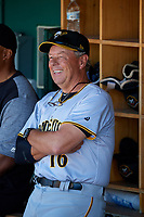 Bradenton Marauders hitting coach Butch Wynegar (16) in the dugout before the first game of a doubleheader against the Lakeland Flying Tigers on April 11, 2018 at Publix Field at Joker Marchant Stadium in Lakeland, Florida.  Lakeland defeated Bradenton 5-4.  (Mike Janes/Four Seam Images)