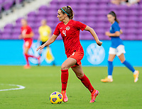 ORLANDO, FL - FEBRUARY 24: Shelina Zadorsky #4 of Canada dribbles during a game between Brazil and Canada at Exploria Stadium on February 24, 2021 in Orlando, Florida.