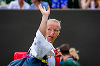 London, England, 6 July, 2019, Tennis,  Wimbledon, Womans single: Kiki Bertens (NED) says goodbeye to Wimbledon after loosing in the fourth round to Strycova (CZE)<br /> Photo: Henk Koster/tennisimages.com