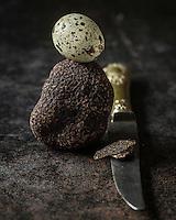 46 Europe, France, Midi-Pyrénées (46) Lot : Truffe du Périgord,truffe noire, ou Tuber Melanosporum, chez Pierre-Jean Pebeyre Trufficulteur à Cahors - Truffe noire et oeuf de caille - Stylisme : Valérie LHOMME // Perigord truffle, black truffle, Tuber melanosporum , in Pierre-Jean Pebeyre house in Cahors , Black truffle and quail egg Lot - Styling: Valerie LHOMME