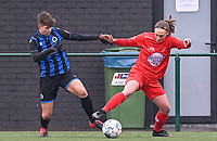 Isabelle Iliano (18) of Club Brugge pictured fighting for the ball with Clotilde Codden (23) of Woluwe during a female soccer game between Club Brugge Dames YLA and White Star Woluwe on the 12 th matchday of the 2020 - 2021 season of Belgian Scooore Womens Super League , saturday 30 January 2021  in Brugge , Belgium . PHOTO SPORTPIX.BE | SPP | DAVID CATRY