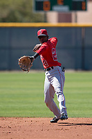 Los Angeles Angels shortstop Daniel Ozoria (23) during a Minor League Spring Training game against the Chicago Cubs at Sloan Park on March 20, 2018 in Mesa, Arizona. (Zachary Lucy/Four Seam Images)