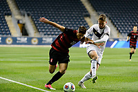 Chester, PA - Friday December 08, 2017: Logan Panchot, Sam Gainford The Stanford Cardinal defeated the Akron Zips 2-0 during an NCAA Men's College Cup semifinal match at Talen Energy Stadium.