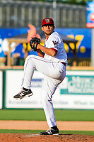 Wisconsin Timber Rattlers pitcher Victor Diaz (34) delivers a pitch during game one of a Midwest League doubleheader against the Kane County Cougars on June 23, 2017 at Fox Cities Stadium in Appleton, Wisconsin.  Kane County defeated Wisconsin 4-3. (Brad Krause/Four Seam Images)