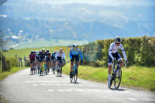 The lead group including Cecilie Uttrup Ludwig (DEN) FDJ Nouvelle-Aquitaine Futuroscope climb La Redoute during Liege-Bastogne-Liege Femmes 2021, running 141km from Bastogne to Liege, Belgium. 25th April 2021.  <br /> Picture: A.S.O./Gautier Demouveaux | Cyclefile<br /> <br /> All photos usage must carry mandatory copyright credit (© Cyclefile | A.S.O./Gautier Demouveaux)