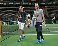 09-02-14, Netherlands,Rotterdam,Ahoy, ABNAMROWTT, Thiemo de Bakker(NED) with his coach Melle van Gemerden(R)<br /> Photo:Tennisimages/Henk Koster