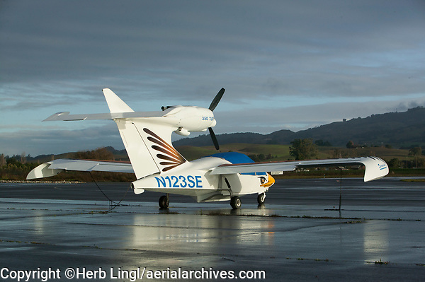 A Seawind One amphibian aircraft tied down at the Petaluma Municipal Airport, Petaluma, Sonoma County, California.