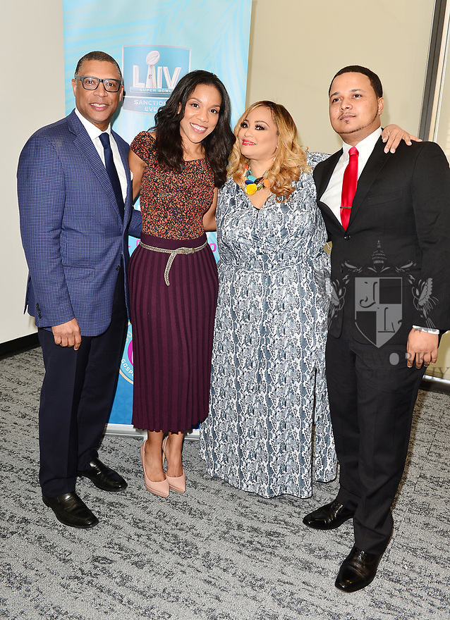 MIAMI, FLORIDA - JANUARY 29: Senior Vice President of Player Engagement, NFL Arthur McAfee, Sheri Barros, Founder of SBGC Melanie Few and CEO of Figgers Wireless Freddie Figgers attend the 21st Annual Super Bowl Gospel Celebration Press Conference at James L Knight Center on January 29, 2020 in Miami, Florida.  ( Photo by Johnny Louis / jlnphotography.com )