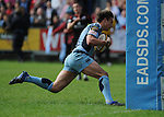 Chris Czekaj goes over between the posts to score the Blues second try. Cardiff Blues V Edinburgh, Magners League. © Ian Cook IJC Photography, 07599826381,  iancook@ijcphotography.co.uk, www.ijcphotography.co.uk