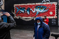 Europe/ Ile de France / Paris /75011 : Le mur d'Oberkampf, ce pari fou devenu une institution du street art parisien  sur l'immeuble de l'historique Café Charbon, L'association le M.U.R. (modulable, urbain, réactif)   odulable, urbain, réactif)                                                          L'artiste VEKS VAN HILLIK interviendra sur Le Mur Oberkampf le samedi 9 janvier                                        Onirique et surréaliste, le style de Veks s'imprègne de diverses influences. De Gustave Doré ou Caravage à Jheronimus Bosch ou encore les primitifs flamands, les peintres classiques sont nombreux à l'inspirer au fil des siècles derniers. Cependant, victime de sa génération, son travail est également teinté par la pop culture, les jeux vidéos, le manga, le graffiti ainsi que le tatouage. //  Europe / Ile de France / Paris / 75011: The Oberkampf wall, this crazy bet that has become an institution of Parisian street art on the building of the historic Café Charbon, the M.U.R. (flexible, urban, responsive) flexible, urban, responsive) Artist VEKS VAN HILLIK will be performing on Le Mur Oberkampf on Saturday January 9 Dreamlike and surreal, Veks's style is permeated with various influences. From Gustave Doré or Caravaggio to Jheronimus Bosch or even the Flemish primitives, many classical painters have inspired him over the last centuries. However, victim of his generation, his work is also tainted by pop culture, video games, manga, graffiti as well as tattooing.