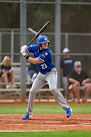 Indiana State Sycamores Keegan Watson (23) bats during the teams opening game of the season against the Pitt Panthers on February 19, 2021 at North Charlotte Regional Park in Port Charlotte, Florida.  (Mike Janes/Four Seam Images)