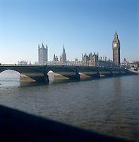 View of the Houses of Parliament from the South Bank, with Westminster Abbey in the background