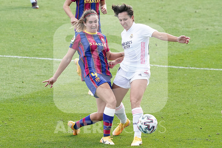 First official match and first classic in the history of women's Real Madrid.<br /> Real Madrid's Marta Corredera (r) and FC Barcelona's Mariona Caldentey during Spanish Female League match. October 4,2020. (ALTERPHOTOS/Acero)