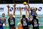 21.11.2020, Zeppelin CAT Halle A1, Friedrichshafen, GER, DVL, VfB Friedrichshafen vs Berlin Recycling Volleys,<br /> im Bild Martti Juhkami (Friedrichshafen, #6) mit Schmetterball, 3-er Block, Benjamin Patch (Berlin, #13), Eder Carbonera (Berlin, #16), Samuele Tuia (Berlin, #12)<br /> <br /> Foto © nordphoto / Hafner