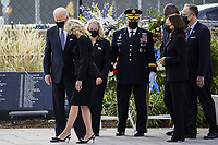 United States President Joe Biden (center) is accompanied by first lady Dr. Jill Biden, Hollyanne Milley, US Secretary of Defense Lloyd J. Austin III, United States Army General Mark A. Milley, Chairman of the Joint Chiefs of Staff, US Vice President Kamala Harris, and second gentleman Douglas Emhoff attend a wreath laying ceremony at National 9/11 Memorial at the Pentagon in Washington on September 11, 2021. <br /> CAP/MPI/RS<br /> ©RS/MPI/Capital Pictures