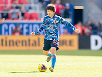 HARRISON, NJ - MARCH 08: Mayo Doko #22 of Japan dribbles during a game between England and Japan at Red Bull Arena on March 08, 2020 in Harrison, New Jersey.
