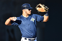 Catcher Brandon Brosher (25) of the Columbia Fireflies works out before a game against the West Virginia Power on Friday, May 19, 2017, at Spirit Communications Park in Columbia, South Carolina. West Virginia won, 3-1. (Tom Priddy/Four Seam Images)
