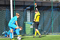 Union's Rachel Staf pictured receives a red card from referee Yuri Depuydt during a female soccer game between the women teams of Club Brugge YLA Dames and Union Saint-Ghislain Tertre-Hautrage Ladies on the 1/16 th qualifying round for the Belgian Womens Cup 2020  2021 , on saturday 26 th of September 2020  in Brugge , Belgium . PHOTO SPORTPIX.BE | SPP | DAVID CATRY