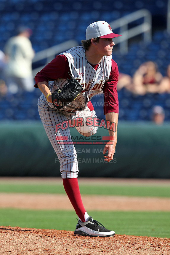 Florida State Seminoles pitcher Evan Geist #15 delivers a pitch during a scrimmage against the Philadelphia Phillies at Brighthouse Field on February 29, 2012 in Clearwater, Florida.  Philadelphia defeated Florida State 6-1.  (Mike Janes/Four Seam Images)