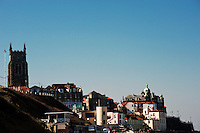 Cromer town from the sands,  Norfolk, England.