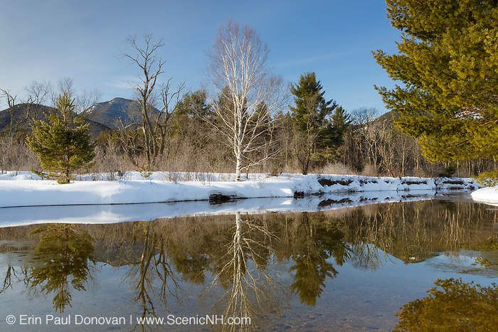 Swift River in the White Mountains, New Hampshire during the spring months. This area was part of the Swift River Railroad, which was a logging railroad in operation from 1906 - 1916. Mount Passaconaway is off in the distance.