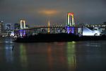 The Rainbow Bridge is lit up in Tokyo, Japan on June 2, 2020. (Photo by Naoki Nishimura/AFLO)