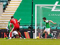 6th February 2021; Easter Road, Edinburgh, Scotland; Scottish Premiership Football, Hibernian versus Aberdeen; Darren McGregor of Hibernian keeps the score at 0-0 with a goal line stop from a Fraser Hornby of Aberdeen shot on goal