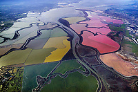 aerial photograph of an overview San Francisco bay salt pond network and the adjacent wetlands and sloughs