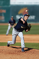 Wingate Bulldogs starting pitcher Hunter Morgan (24) delivers a pitch to the plate against the Catawba Indians at Newman Park on March 19, 2017 in Salisbury, North Carolina. The Indians defeated the Bulldogs 12-6. (Brian Westerholt/Four Seam Images)