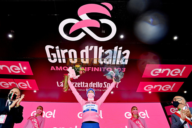 Race leader Joao Almeida (POR) Deceuninck-Quick Step retains the Maglia Rosa at the end of Stage 10 of the 103rd edition of the Giro d'Italia 2020, running 177km from Lanciano to Tortoreto, Italy. 13th October 2020.  <br /> Picture: LaPresse/Gian Mattia D'Alberto | Cyclefile<br /> <br /> All photos usage must carry mandatory copyright credit (© Cyclefile | LaPresse/Gian Mattia D'Alberto)