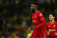 21st September 2021; Carrow Road, Norwich, England; EFL Cup Footballl Norwich City versus Liverpool; Divock Origi of Liverpool celebrates after he scores for 0-2 in the 50th minute