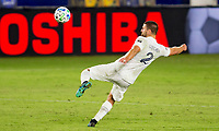 CARSON, CA - OCTOBER 18: Perry Kitchen #2 of the Los Angeles Galaxy sets up to send a ball upfield during a game between Vancouver Whitecaps and Los Angeles Galaxy at Dignity Heath Sports Park on October 18, 2020 in Carson, California.