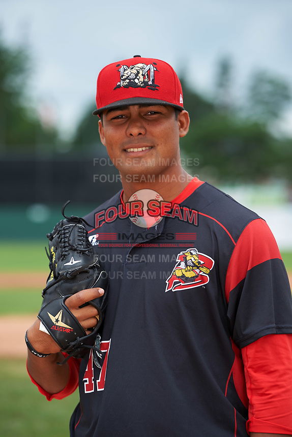 Batavia Muckdogs pitcher Manuel Rodriguez (47) poses for a photo before a game against the Tri-City ValleyCats on July 15, 2017 at Dwyer Stadium in Batavia, New York.  Tri-City defeated Batavia 5-4.  (Mike Janes/Four Seam Images)