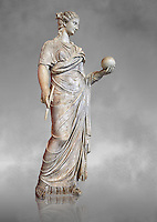 Second century AD Roman statue of Urania holding, the muse of atronomy holding  a globe, the statue was restored from two separte staues of the period, inv 293, Vatican Museum Rome, Italy,  grey art background