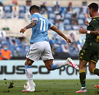 Football, Serie A: S.S. Lazio - Brescia, Olympic stadium, Rome, July 29, 2020. <br /> Lazio's Carlos Joaquin Correa scores during the Italian Serie A football match between S.S. Lazio and Brescia at Rome's Olympic stadium, Rome, on July 29, 2020. <br /> UPDATE IMAGES PRESS/Isabella Bonotto