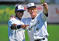 15 July 2010: Vermont Lake Monsters' teammates Hendry Jimenez (left) and Chad Mozingo smile prior to a game against the Aberdeen IronBirds at Centennial Field in Burlington, Vermont. The Lake Monsters rallied in the bottom of the 9th inning to defeat the IronBirds 7-6 notching their league leading 20th win of the 2010 NY Penn League season. Mandatory Credit: Ed Wolfstein Photo