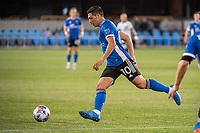 SAN JOSE, CA - MAY 01: Cristian Espinoza #10 of the San Jose Earthquakes controls the ball during a game between San Jose Earthquakes and D.C. United at PayPal Park on May 01, 2021 in San Jose, California.