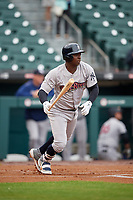 New York Yankees Didi Gregorius (18), on rehab assignment with the Scranton/Wilkes-Barre RailRiders, hits a single in the top of the first inning during an International League game against the Buffalo Bisons on June 5, 2019 at Sahlen Field in Buffalo, New York.  Scranton defeated Buffalo 3-0, the first game of a doubleheader.  (Mike Janes/Four Seam Images)
