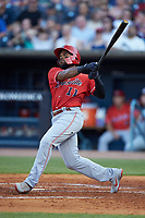 Phillip Ervin (11) of the Louisville Bats follows through on his swing against the Toledo Mud Hens at Fifth Third Field on June 16, 2018 in Toledo, Ohio. The Mud Hens defeated the Bats 7-4.  (Brian Westerholt/Four Seam Images)