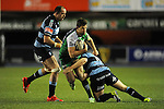 Connacht's Darragh Leader is tackled by Cardiff Blues' Joaquin Tuculet<br /> Guiness Pro12<br /> Cardiff Blue v Connacht<br /> BT Sport Cardiff Arms Park<br /> 06.03.15<br /> ©Ian Cook -SPORTINGWALES