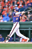 Clemson Tigers center fielder Chase Pinder (5) swings at a pitch during a game against the South Carolina Gamecocks at Fluor Field on March 5, 2016 in Greenville, South Carolina. The Tigers defeated the Gamecocks 5-0. (Tony Farlow/Four Seam Images)
