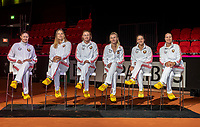 The Hague, The Netherlands, Februari 6, 2020,    Sportcampus, FedCup  Netherlands -  Balarus, Draw Team Balarus with wooden shoes.<br /> Photo: Tennisimages/Henk Koster