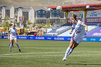 HERRIMAN, UT - JULY 1: Kayla Sharples #28 of Chicago Red Stars heads the ball during a game between Chicago Red Stars and Portland Thorns FC at Zions Bank Stadium on July 1, 2020 in Herriman, Utah.