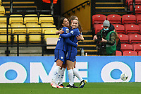 14th March 2021; Vicarage Road, Watford, Herts;  Sam Kerr of Chelsea celebrates her second goal with her teammates during the FA Womens Continental Tyres League Cup final game between Bristol City and Chelsea at Vicarage Road Stadium in Watford. FA Womens Continental Tyres Cup Final