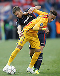 Atletico de Madrid's Gabi Fernandez (l) and FC Barcelona's Jordi Alba during Champions League 2015/2016 Quarter-Finals 2nd leg match. April 13,2016. (ALTERPHOTOS/Acero)