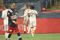 FOXBOROUGH, MA - NOVEMBER 1: Yamil Asad #11 of DC United, Griffin Yow #22 of DC United celebrated the first DC goal during a game between D.C. United and New England Revolution at Gillette Stadium on November 1, 2020 in Foxborough, Massachusetts.