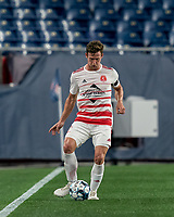 FOXBOROUGH, MA - AUGUST 21: Ian Antley #2 of Richmond Kickers passes the ball during a game between Richmond Kickers and New England Revolution II at Gillette Stadium on August 21, 2020 in Foxborough, Massachusetts.